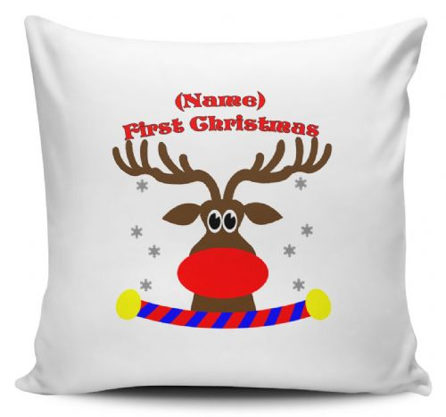 Personalised Reindeer First Christmas Cushion Cover